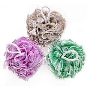 YINENN Bath Shower Sponge Loofahs XL, Pack of 3 Pastel Colors