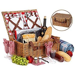 Amazon.com : Picnic Basket For 4 With Insulated Cooler Bag - 30 Piece Kit Includes Wicker Basket with Stainless Steel Flatware, Ceramic Plates, Glasses, Linen Napkins and Blanket and More - by Vysta : Gateway