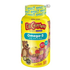 $20.94(原价$29.97)  每瓶$6.98L'il Critters Omega-3 DHA儿童鱼油软糖 120粒(3瓶装)