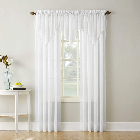 No. 918 Erica Crushed Texture Sheer Voile Rod Pocket Curtain Panel, 51