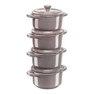 Staub暖灰色小砂锅4件套