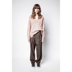 Zadig & Voltaire粉色拉链针织衫