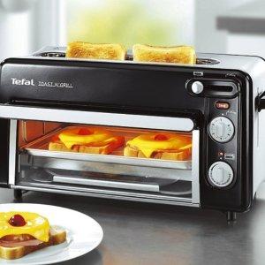 折后€89 原价€124Tefal 迷你烤箱+吐司机2合1 无需预热 节能75% 早餐神器