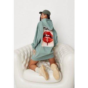 MissguidedExtra 15% Off $80+ Purchase- Playboy xKhaki Magazine Graphic Oversized Hoodie Dress