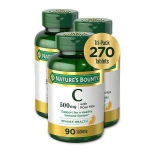 $22.76 平均$7.58/瓶Nature's Bounty 维生素C + 玫瑰果咀嚼片 90片 3瓶