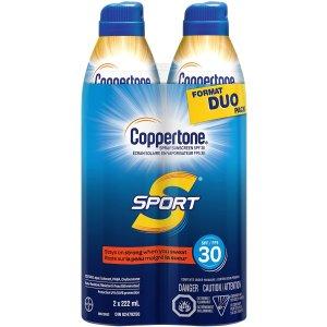 $9.56($19.99)2件装Coppertone Sport SPF30+ 水宝宝 成人防水防晒喷雾