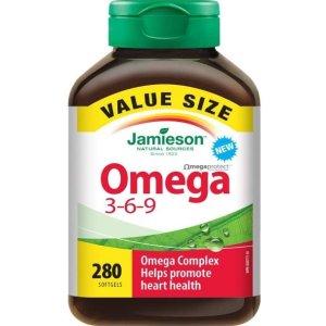 $17.36(原价$24.99)Jamieson Omega 3-6-9 鱼油 280粒超值装