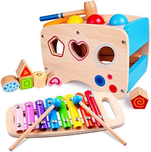木质击打乐器及图形认知玩具套装
