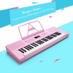 $79.98(原价$82.99)49键初学者必入Vangoa 稀有粉色电子琴 粉色控小公主必入