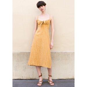 Faithfull the Brand Mustard Striped Fiscardo Midi Dress