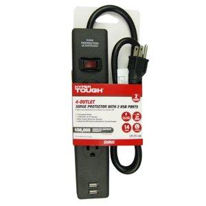 白菜价:Hyper Tough 4插口 2USB 浪涌保护插座
