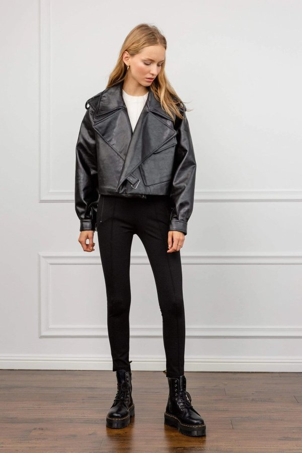 Alexa Black 廓形皮夹克