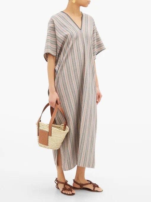 V领混色连衣裙