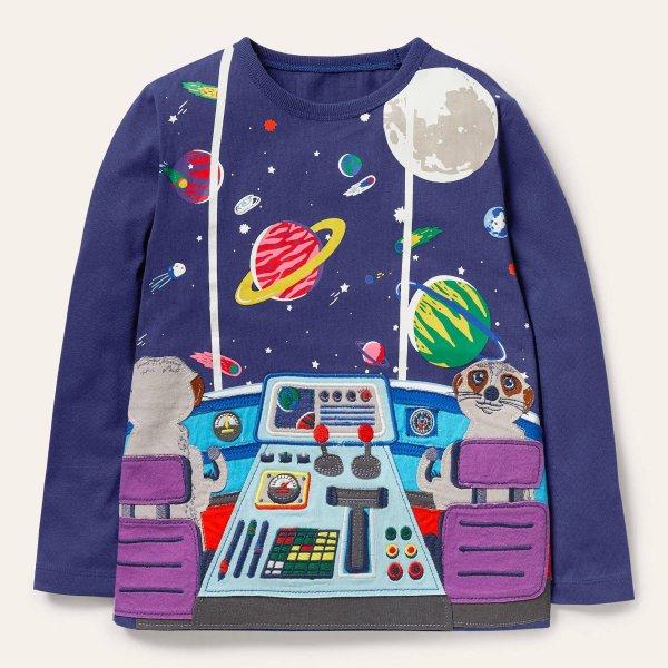 儿童贴布绣太空T恤