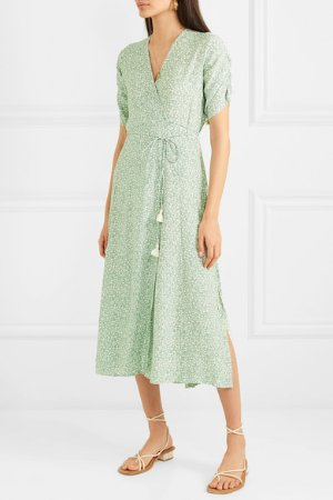 Faithfull The Brand | Chiara floral-print crepe wrap midi dress | NET-A-PORTER.COM