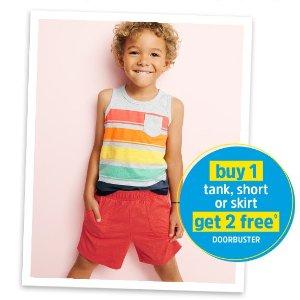 包邮买1送2 相当于$5.3一件OshKosh BGosh 儿童夏日短裤、背心、裙子一起买省更多