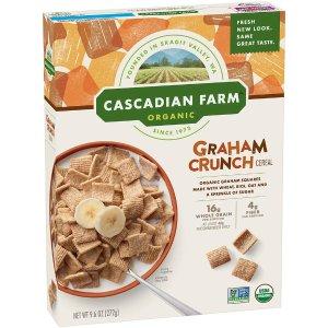 Cascadian Farm 有机全麦方形麦片 9.6oz 健康早餐好选择