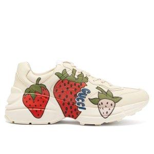 GucciRhyton strawberry-print leather trainers | Gucci | MATCHESFASHION.COM US