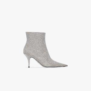 Balenciaga银色细跟及踝靴