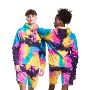 ChampionReverse Weave Hoodie, Multi Neon Tie-Dye
