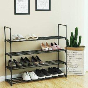 $20.39(原价$23.99) 蜈蚣精必备SONGMICS 4层鞋架黑色,经济实用