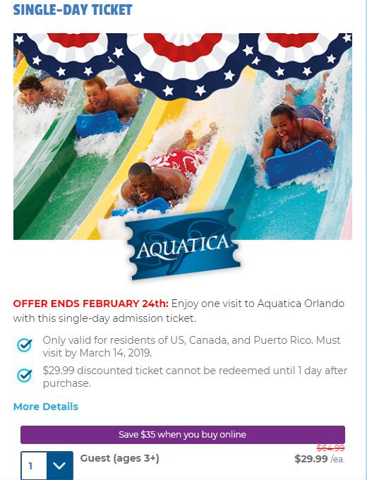 Expired $29.99 Special Offer At AQUATICA ORLANDO