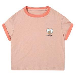 夏季T恤–熊徽标–深色桃子