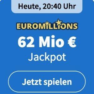 周二/五开奖 2注机会只要€6EuroMillions 彩票奖金累计6200万欧 单车秒变摩托