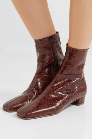 BY FAR | Este croc-effect leather ankle boots  | NET-A-PORTER.COM