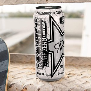 $24Rockstar Energy Drink Pure Zero Energy Drink, Silver Ice, 16 Fluid Ounce (Pack of 24)