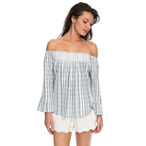Moon Sapphire Stripe Off The Shoulder Top
