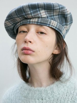 CLASSIC BERET_CHECK NAVY | W Concept