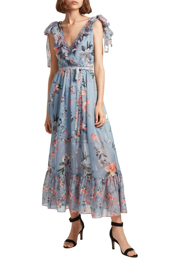 印花花边连衣裙