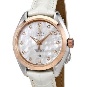 $3945 国内公价¥ 62200独家:OMEGA 18K金珍珠母贝镶钻机械奢华女表
