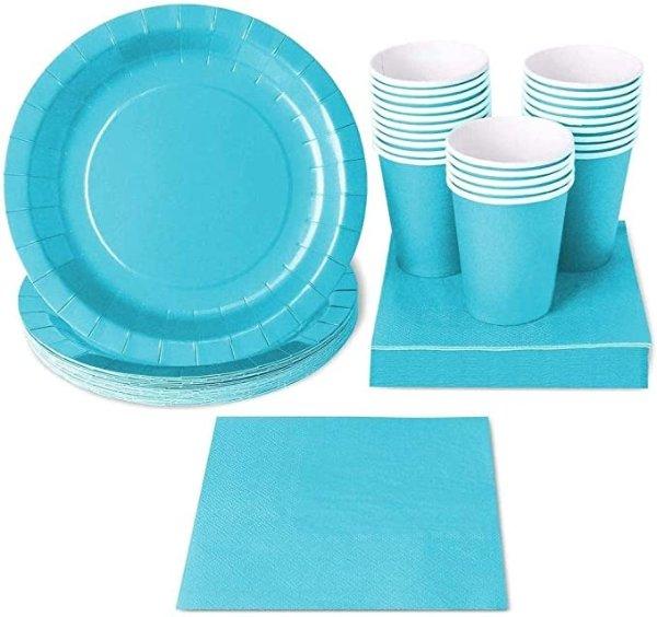 蓝色一次性餐具24组