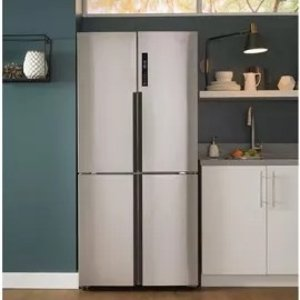 Haier HRQ16N3BGS 33 Inch 4-Door Counter Depth French Door Refrigerator with Quick Cool, Quick Chill, HCS Filter, LED Lighting, Touch Temperature Controls, Energy Star, Sabbath Mode, 16.4 cu. ft. Capacity and Freestanding