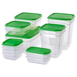 PRUTA Food container, set of 17 - clear, green - IKEA