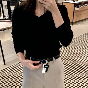Coach女士C扣腰带 黑银 25mm