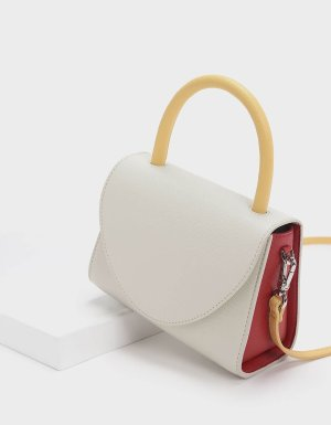 White Two-Tone Structured Top Handle Bag | CHARLES & KEITH US