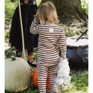 Burt's Bees BabyTri Color Stripe Organic Baby Zip Up Footed Halloween Pajamas