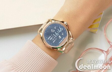 88badbd3565e ... with the ladies  Michael Kors Access Bradshaw gold-tone and blush  acetate display smartwatch. Powered by Android Wear