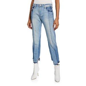 FrameNouveau Le Mix Two-Tone Boyfriend Jeans