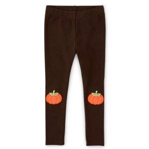 Gymboree94% 棉 6% 弹性纤维女童刺绣南瓜拼布针织打底裤