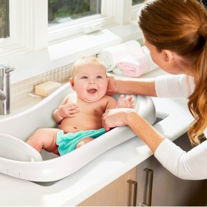$13.6The First Years Sure Comfort Newborn to Toddler Baby Bath Tub, Infant Bath Tub, White