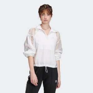 Adidas超细尼龙和缎子轻薄白色上衣