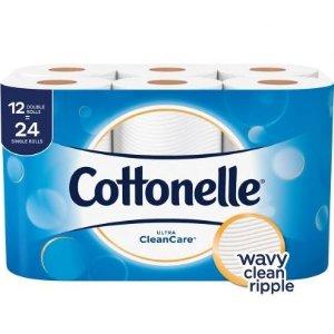 CottonelleUltra CleanCare Toilet Paper Double Rolls - 12 ct