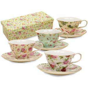 Gracie China Rose Chintz 8-Ounce Porcelain Tea Cup and Saucer, Assorted colors, Set of 4