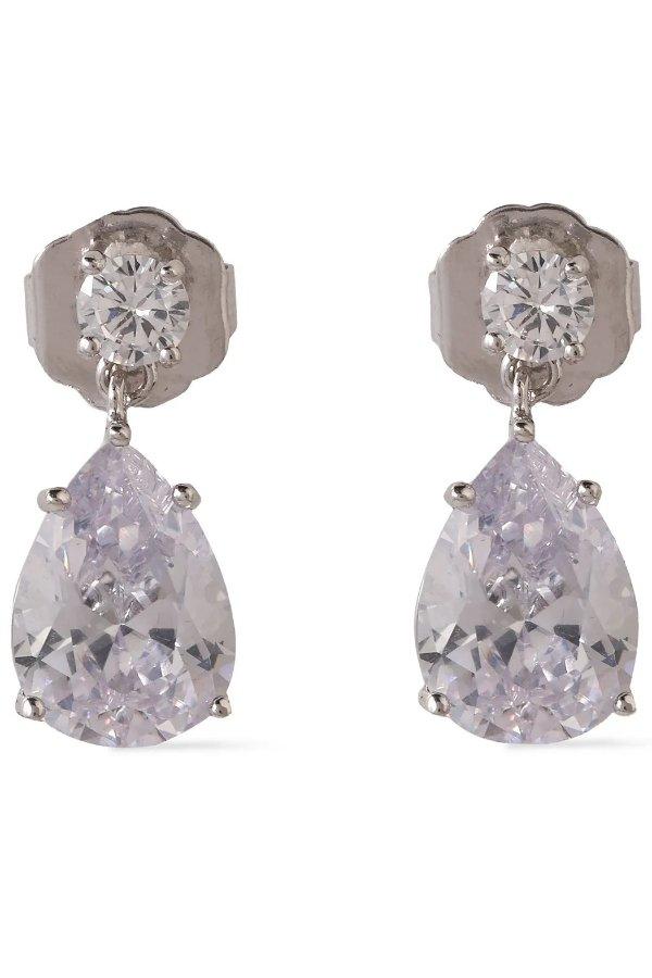 银色水晶耳环