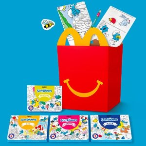 约€4 内含4本蓝精灵涂色书上新:Mcdonalds 蓝精灵开心套餐 送玩具或格言书一件