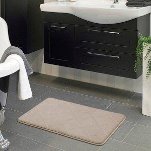 $6.39GUDLUK Memory Foam Bath Mat, Soft Non Slip Absorbent Bathroom Rugs, Beige Rhombus Mats